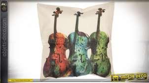 Housse de coussin violons 43*43 cm