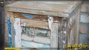 Table de chevet style brocante et récup' en bois recyclé