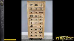 Haute commode à 5 tiroirs de style industriel et éclectique 126 cm