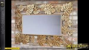 Miroir mural avec encadrement doré à motifs de grandes feuilles en relief 1,3 mètre