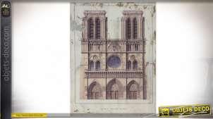 Tableau mural Notre-Dame de Paris impression rétro sur panneau bois 80 x 60 cm