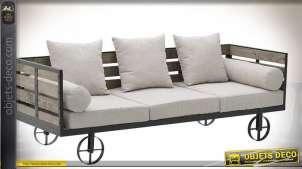 Canapé 3 places en forme d'ancien chariot rustique avec ridelles 192 cm