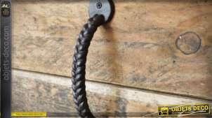 Grande poignée de porte en fonte pour meuble effet arceau torsadé
