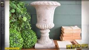 Vase Médicis classique finition effet pierre blanche sablée 44 cm