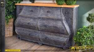 Commode 8 tiroirs Alwena acajou et teck patine gris effet estompé 140 cm