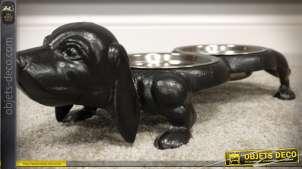 Gamelle double en fonte et inox pour chien forme de basset stylisé