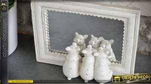 Miroir de table blanc Les trois petits cochons 21 cm