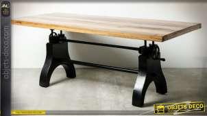 Table de salle à manger en bois massif recyclé avec système de levage 220 cm