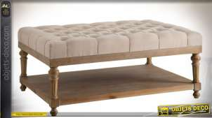 Table basse à plateaux superposés et habillage tissu capitonné 107 x 78 cm