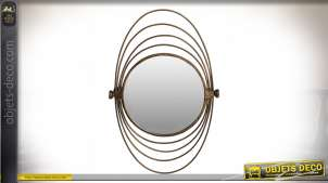 Miroir décoratif de style industriel à encadrement en métal ovales successifs