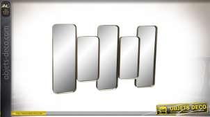 Grand miroir doré à motifs rectangulaires alternés et en relief 100 cm