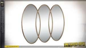 Miroir design en métal doré à 3 ovales verticaux entrelacés 110 cm
