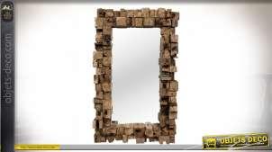 Grand miroir en bois recyclé de teck avec encadrement en relief 160 cm