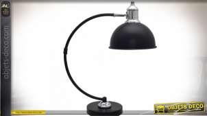 Lampe de bureau noir mat style vintage métal chromé 46 cm