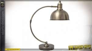Lampe de bureau vintage métal finition bronze doré 46 cm