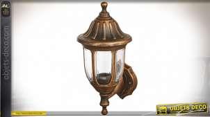 Lanterne extérieure en applique murale finition effet métal cuivré et vieilli