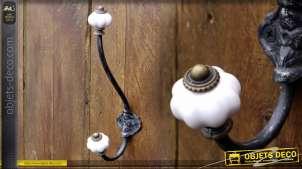 Portemanteaux style rétro bulbes en porcelaine coloris blanc