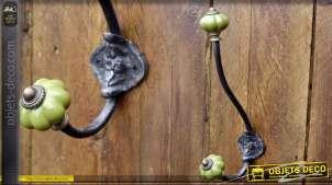 Portemanteaux style rétro bulbes porcelaine coloris vert pistache