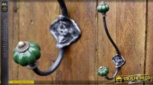 Portemanteaux style rétro bulbes porcelaine coloris vert impérial