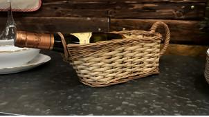 Panier de service à vin en osier buff et éclisse,