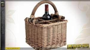 Panier porte-bouteilles en osier teinté et bois pour 4 bouteilles
