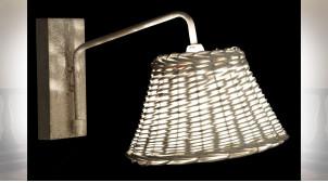 LAMPE APPLIQUE MÉTAL OSIER 21X39X22 BASE 9X18X3 CM
