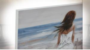 Série de deux grandes toiles peintes, représentation d'une silhouette féminine et plages, 120cm