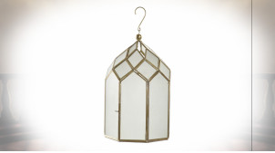 Lanterne hexagonale suspendue multifacettes avec finition laiton doré 31 cm