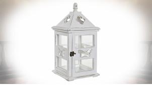 Lanterne en bois et verre de style shabby-chic finition blanche 43 cm