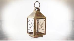 Lanterne carrée en métal doré vieilli avec vitres à fins croisillons et anneau de suspension 42 cm