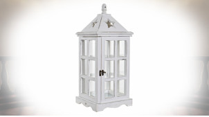 Lanterne blanche fenêtrée de style shabby-chic en pin et verre 51 cm
