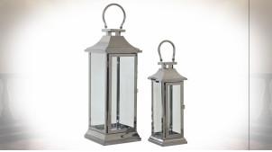 Série de deux lanternes en argentée en inox à poser ou suspendre 49 cm