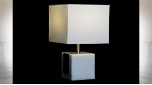 LAMPE DE TABLE MARBRE POLYESTER 26X26X41 BLANC
