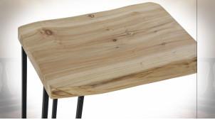 TABLE AUXILIAIRE BOIS MÉTAL 50X35X60 RUSTIQUE