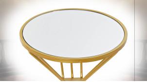 TABLE AUXILIAIRE MÉTAL MIROIR 38X38X48 DORÉ