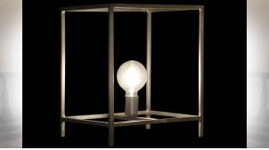 LAMPE DE TABLE MÉTAL 33X33X40 GRIS FONCÉ