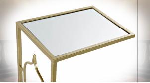 TABLE AUXILIAIRE MÉTAL MIROIR 40,5X30X63,5 DORÉ
