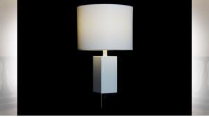 LAMPE DE TABLE MÉTAL POLYESTER 33X33X60 BLANC
