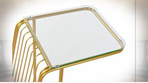 TABLE AUXILIAIRE MÉTAL VERRE 46,5X30X61 DORÉ
