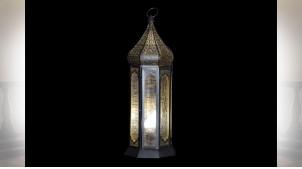 LAMPE DE TABLE FER VERRE 23X23X57 MAT DORÉ