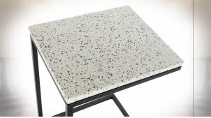 TABLE AUXILIAIRE FER PIERRE 40X46X65 TERRAZO NOIR