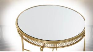 TABLE AUXILIAIRE MÉTAL MIROIR 56X56X56 PORTÉ DORÉ