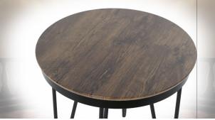 TABLE AUXILIAIRE MDF ACIER 48X48X44 MARRON