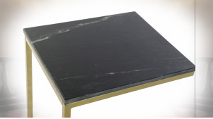 TABLE AUXILIAIRE MARBRE FER 40X46X65 DORÉ