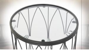 TABLE AUXILIAIRE FER VERRE 45X45X60 NOIR