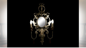 LAMPE APPLIQUE MÉTAL SAPIN 42X4X72 MIROIR VIEILLI
