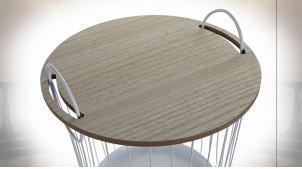 TABLE AUXILIAIRE SET 2 FER MDF 43X43X46 BLANC