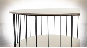 TABLE AUXILIAIRE MDF FER 49X49X51,5 NATUREL