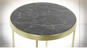 TABLE AUXILIAIRE ACIER VERRE 42X42X46 5 MM, MARBRE