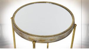 TABLE AUXILIAIRE SET 2 MÉTAL MIROIR 41X41X65 PORTÉ